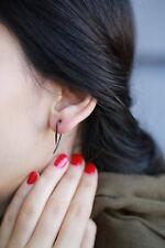 925 Sterling Silver Black Pierce Style Spike Earrings