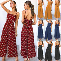 Womens Casual Dot Holiday Wide Leg Pants Long Jumpsuit Backless Strappy Playsuit