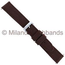 18mm Speidel Brown Stitched Genuine Canvas Mens Watch Band Regular