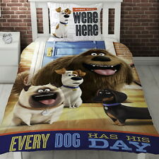 Secret Life of Pets Hounds Single Panel Duvet Cover Bed Set Gift 2in1 Reversible