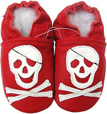 carozoo soft sole leather infant baby shoes pirate red 0-6m
