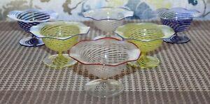 6 Antique BIMINI Delicate Glass OPEN PEDESTAL SALTS Threads Of Color AUSTRIA