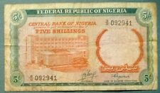 NIGERIA 5 SHILLINGS RARE NOTE , P 10 b , ISSUED 1968