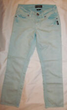 SILVER SUKI CAPRI turquiose blue aged look stretchy crop sequined S jeans 25 *