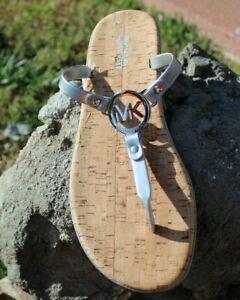Michael Kors Flip flops Sandals thongs Size 10.5, 11 Silver gray Spring $93 New
