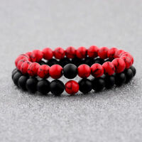 2Pcs/Set Couples Classic Red And Black Bracelet 8MM Natural Stone Bracelets Gift