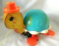 Vintage Fisher Price tortoise Push Along Toy complete