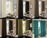 Faux Silk Curtain Fully lined eyelets Ring Top Plain Pair of Curtains Tie Backs