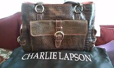 CHARLIE LAPSON Brown Croc-Embossed Leather Large Satchel + Dust Bag! (NWT)