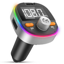 FM Transmitter Bluetooth 5.0 Wireless Car USB Charger Handsfree Kit Mp3 Player @