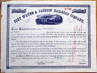 1958 Stock Certificate: 'Fort Wayne & Jackson Railroad Company'-Michigan/Indiana