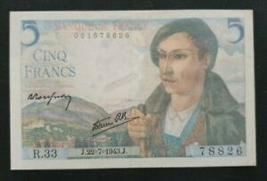 Billet 5 Francs Berger 22.07.1943       R.33