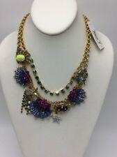 $145 Betsey Johnson Into The Blue Seashell  Necklace Crab,Fish ,Turtle BH18