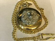Lion's Head TG23 Pewter on a Gold Pocket Watch Quartz fob