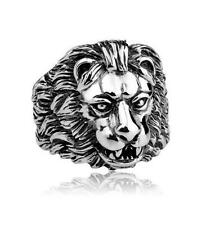 Lion Head Silver Punk Gothic Animal Biker Ring Mens Women Stainless Steel
