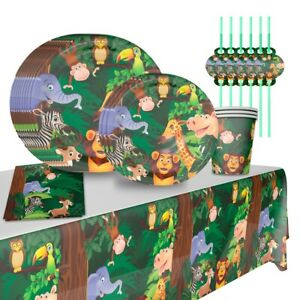 Safari Jungle Birthday Party Tableware Balloon Supplies Baby Shower Decoration