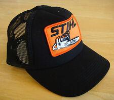 Stihl Black Trucker Style Hat / Cap with Orange Chainsaw Stihl Patch