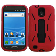 T-MOBILE SAMSUNG GALAXY S2 T989 DUAL LAYER HYBRID S ARMOR W/KICKSTAND RED