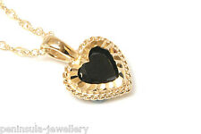 """9ct Gold Black CZ Heart Pendant and 18"""" Chain Gift Boxed Necklace Made in UK"""