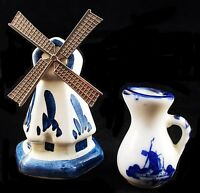 Vintage DELFT Handpainted Miniatures - Windmill & Pitcher Holland A02