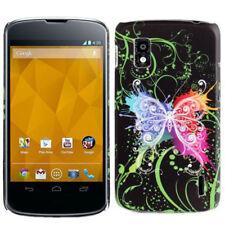 Hardcase Backcover für LG E960 Google Nexus 4 Schmetterling schwarz bunt Case