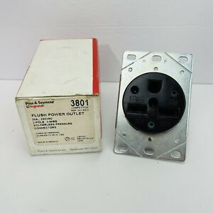Pass & Seymour 3801 Flush Power Outlet 30A 250V 2P 3-Wire Brown ~New Old Stock~