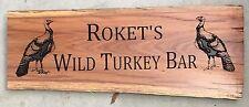 Personalised Wild Turkey BAR Ironbark Slab Timber Sign 650mm Long