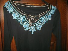 FANG BLACK TURQUOISE EMBOSSED BLOUSE TOP Sz M Jrs