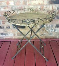"Vintage Antique Metal Folding Table Accent Decor Table 23 1/2"" High & 25"" Wide"