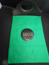 VINTAGE 1970s Gucci Green Felt Black Vinyl Shopper Tote Bag SHOE BAG