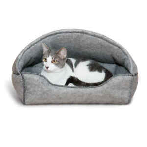 """K&H Pet Products Amazin' Kitty Lounger Hooded Bed Gray 13"""" x 17"""" x 11"""""""