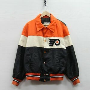 Vintage Philadelphia Flyers Shain Bomber Jacket Size Large 90s NHL Button Up