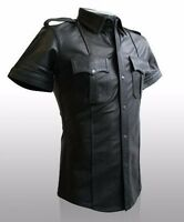 Genuine Real Lamb/Sheep Leather Men Black Police Military Style Shirt BLUF GAY