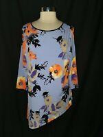 SUSAN GRAVER Size L Shirt Top Purple Black Orange Floral Liquid Knit 3/4 Sleeve