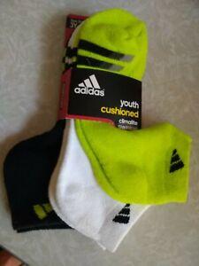 NWT, 3 Pr adidas Youth No Show Athletic Cushioned Comfort Climalite Socks 3Y - 9
