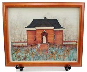 """P Buckley Moss Christ Church Art Print #103/1000 Signed Framed 15.5""""X12.5"""""""