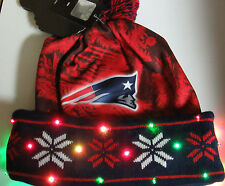 New England Patriots TEAM Logo LED Light up knit Hat Winter Beanie Forever 1 sz