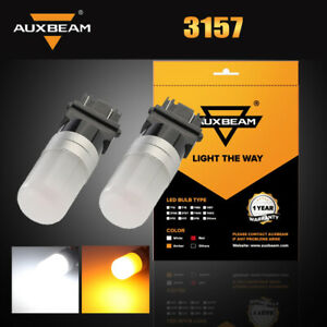2x AUXBEAM Yellow Amber 3157 LED Turn Signal Parking Light Blinker Corner Bulb