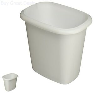 Plastic Waste Basket Wastebasket Small Garbage Bin Trash Can White Home Office