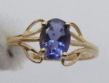 14k YELLOW GOLD 0.61CT Oval Bluish-Purple Tourmaline Ring 1.6g Ring Size 7.75