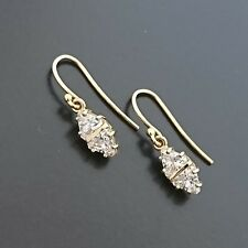 18ct Yellow Gold hook drop earrings set with Trilliant Cut Cubic Zirconias