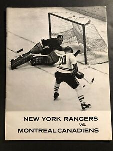 1964 NEW YORK RANGERS Montreal Canadians Program JACQUES PLANTE Richard GILBERT