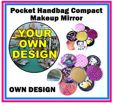 PERSONALISED - HANDBAG / POCKET MAKE-UP COMPACT MIRROR - YOUR OWN DESIGN - GIFT