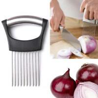Fruit Vegetable Stainless Steel Onion Holder Slicer Guide Tomato Cutter AL