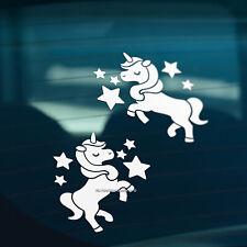 2x CUTE UNICORNS WITH STARS Funny Novelty Car,Window,Bumper Vinyl Decal Stickers