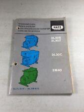 HATZ Diesel 3L30S, 3L30Z, 3L30C, 3M40 Engines Parts List Manual