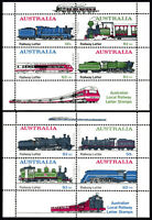 Australia 1984 Thirlmere Railway FIRST set (2) local stamp miniature sheets MNH