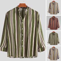 Vintage Men's Linen Casual Loose Long Sleeve Shirt Grandad Collarless Blouse Top