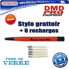 Stylo / Crayon grattoir fibre de verre + 6 recharges - Nettoyage pièces monnaies