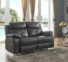 Brown High Grade Leather 2 Seater Reclining Recliner Sofa CHICAGO